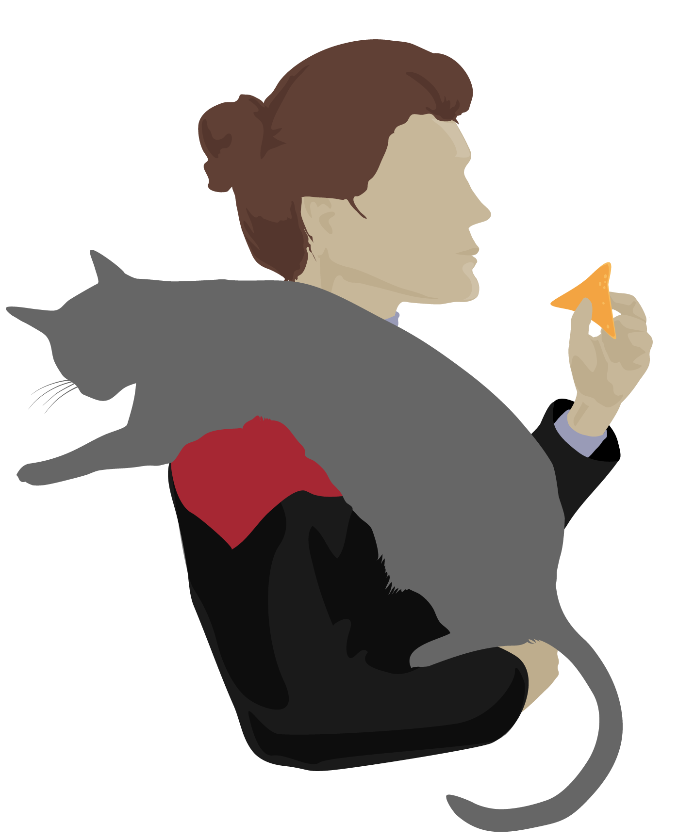 Captain Janeway about to eat a dorito and holding a cat