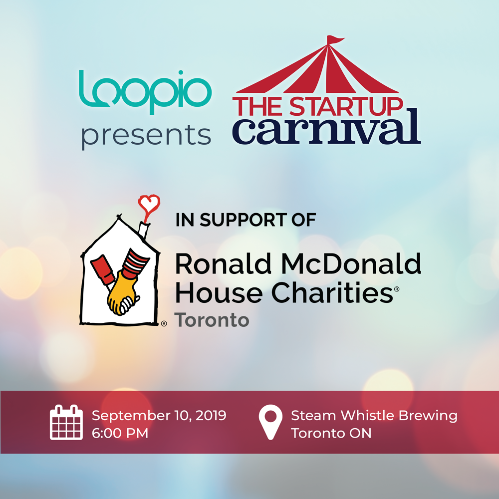 Instagram social post with startup carnival and Ronald McDonald House logos