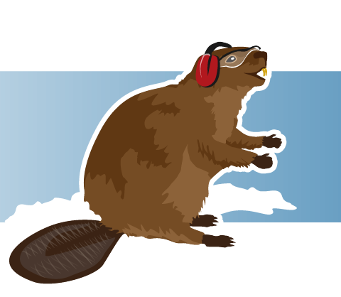 Beaver wearing ear and eye protection